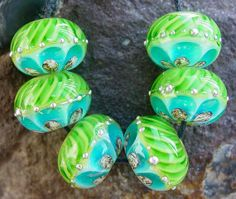 Elegant Rounds  Bright Aqua and Green  Set of 6 by artwithheart, $30.00