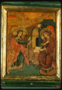 """""""Annunciation,"""" The Sinai Icon Collection Constantine The Great, Life Of Christ, Byzantine Art, European Paintings, Icon Collection, Religious Icons, Orthodox Icons, Arabian Nights, Christian Art"""