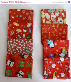 50% OFF New Year SALE - Christmas Red Collection Fat Quarter Bundle of 8, a Variety of Christmas symbols and Characters