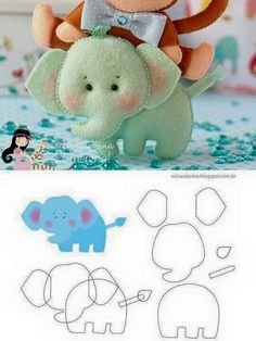 Elephant (with instructions) ・ ☆ ・ .- Elefant 🎀 (mit Anleitung)・☆・ Elephant 🎀 (with instructions) ・ ☆ ・ - Felt Diy, Felt Crafts, Fabric Crafts, Sewing Crafts, Sewing Projects, Clay Crafts, Felt Patterns, Craft Patterns, Baby Mobile