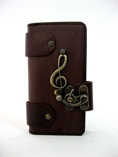 HANDMADE VEGETABLE LEATHER CELLPHONE CASE FOR IPHONE 5&5se WITH MUSIC EMBLEM #Apple