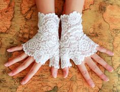 "20% off 6"" WHITE lace Flower arm warmers fingerless short gloves wedding party Gothic Victorian lolita Stretchy Wicca Dance 80's Retro w35. $9.59, via Etsy."