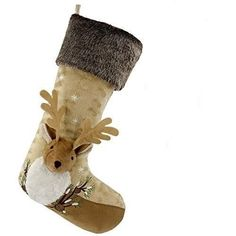 Handcrafted reindeer filled with incredible attention to detail - adorable antler, fuzzy ears & rug scarf. Xmas Gifts, Reindeer, Christmas Stockings, Woodland, The Incredibles, Luxury, Holiday Decor, Bags, Needlepoint Christmas Stockings
