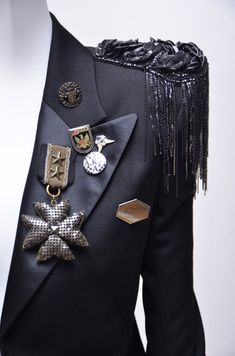 Balmain  Tuxedo Style Millitary Jacket With Embellishment   From a collection of rare vintage coats and outerwear at http://www.1stdibs.com/fashion/clothing/coats-outerwear/