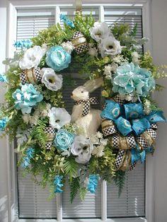 Easter Wreath Sisal Bunny Rabbit Elegant Front by PetalsNPicks