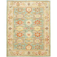 Handmade Heritage Treasures Light Blue/ Ivory Wool Rug (6' x 9')