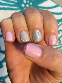 A cross between winter nails and valentines day nails. Super cute Gelish nail art design!