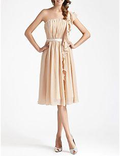 Knee-length Chiffon Bridesmaid Dress - Champagne Plus Sizes / Petite Sheath/Column One Shoulder
