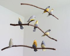 Bird Mobile  Gray / Yellow Fabric Birds on natural by SewnBuddies