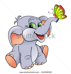 Funny Cartoon Baby Elephant With Butterfly