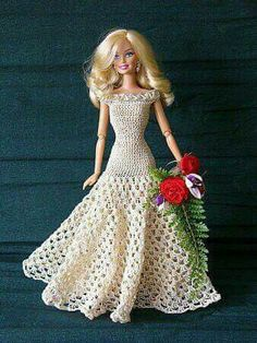 Crocheted Barbie dress ideas ~ I use to make some. Maybe I could make some like these by looking at the pictures.