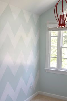 Chevron and blue accent wall