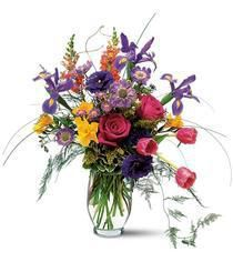 Colorful flowers bursting with energy shower their joyous spirits on everyone around.