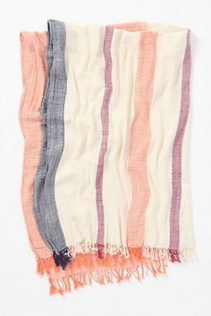 Crinkled-Stripe Throw  #anthropologie  I have 2 throws in the living room already...end of the bed maybe?