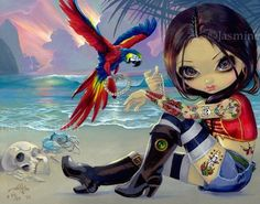 Bootstrap Jasmine Becket-Griffith pirate tattoo lowbrow art LAST CANVAS PRINT