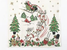 Vintage Linen Towel Santa Claus Christmas Reindeer Sleigh Toys Shiny Gold Stars by NeatoKeen on Etsy