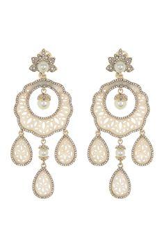 Arabic chandelier earrings 18k gold plated dangle chandelier drop lace leaves carved shell elegant earrings
