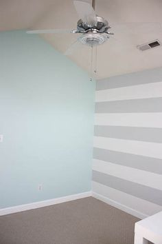blue and grey striped nursery  I would do chevron instead of stripes