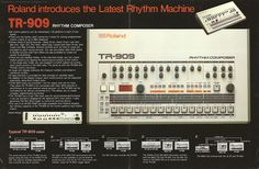 Roland TR-909 drum machine four page brochure, 1984 [Retro Synth Ads]