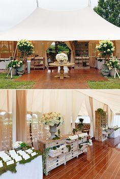 The couple has their wedding ceremony in this beautiful and chic tent.