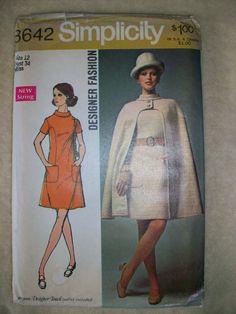 Vintage 60's SImplicity Pattern #8642 Designer MOD Dress & Awesome Cape Size 12