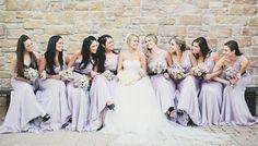 Bridesmaids in lavender dresses