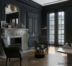 31 Ideas Black Parisian Interior Design Home Office. Interior design is now the field of television shows. It has also become the subject of radio shows. It can be overwhelming once you're faced with thi. Gothic Interior, Black Interior Design, Dark Interiors, Office Interiors, Interior Office, Diy Interior, Paris Apartment Interiors, Room Interior, Home Office Design