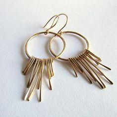 14K Gold Boho Fringe Earrings Solid Gold Earrings Boho