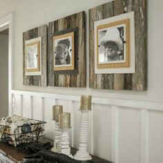 Picture frames on wooden pallets