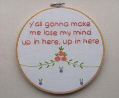 Hip Hop lyrics needlepointed on a sampler? Too funny!