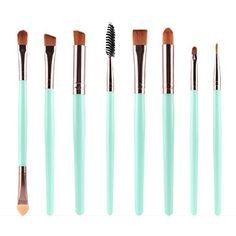 KOLIGHT Set of 8pcs DIY Eye Brushes Set Eyeliner Eyeshadow Blending Pencil Brush Foundation Cosmetic Makeup (Green Coffee) ** Read more reviews of the product by visiting the link on the image. (This is an affiliate link) #MakeupBrushesTools