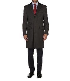 Men's Luxury Grey 100% Wool Coat