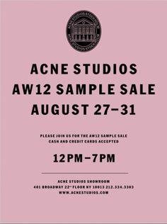 Acne Studios Sample Sale Ad