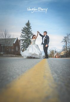 Wedding photography ideas - dancing in the streets of Kleinburg, Ontario by Vaughn Barry Photography - PIN now, view later!
