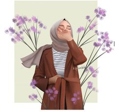 This scarf is an essential item inside garments of females with hijab. As it is a vital item this wraps up th Cute Girl Wallpaper, Cute Wallpaper Backgrounds, Cute Cartoon Wallpapers, Girl Cartoon, Cartoon Art, Cover Wattpad, Hijab Drawing, Islamic Cartoon, Anime Muslim