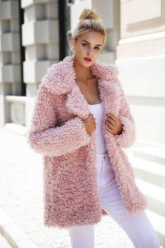Trench Coats Women Long, Coats For Women, Clothes For Women, Pink Faux Fur Coat, Faux Shearling Coat, Pink Teddy Coat, Streetwear, Fluffy Coat, Cute Coats