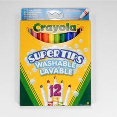 Pestävät tussit, 12 väriä. Crayolan vesiohenteisilla tusseilla voit antaa lapsesi värittää ilman huolia. Värit lähtevät helposti ihosta ja konepesussa vaatteista.