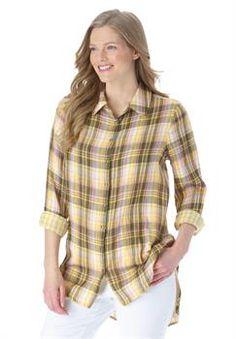 Plus Size Long sleeve double gauze tunic