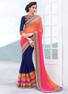 Designer Indian wedding wear saree in Multicolor Indian Wedding Wear, Saree Wedding, Blue Wedding, Wedding Dress, Indian Attire, Indian Wear, Indian Style, Indian Ethnic, Beautiful Saree