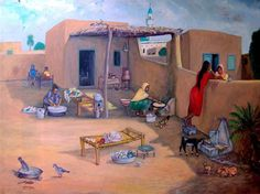 Village life in Pakistan. Art Village, Indian Village, Cartoon Kunst, Cartoon Art, Punjab Culture, Art Arabe, Pakistan Art, Pakistani Culture, Arabian Art