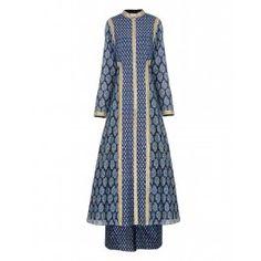 Block Printed Indigo Blue Anarkali Dress