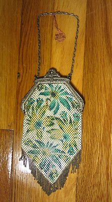 1920s Mandalian Metal Mesh Purse Art Deco Enamel Floral Design with a Fringe Bottom. A great item from the Roaring 20s!