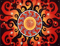 Celtic Sun Cross Stitch Pattern - Magnificent Celtic sun fairly pulses with energy! It carries within its heart a spiral design reminiscent of the carvings at New Grange. Adapted from artwork by Cari Buziak. Design measures 350 stitches wide by 250 stitches high.