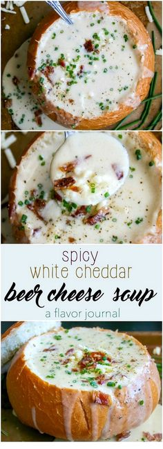creamy, rich, decadent beer cheese soup made with white cheddar and a little heat. the ultimate comfort food soup in a bread bowl. spicy white cheddar beer cheese soup a flavor journal Crock Pot Recipes, Easy Soup Recipes, Cooking Recipes, Cooking Tips, Oats Recipes, Healthy Recipes, Recipes Dinner, Yummy Recipes, Vegan Recipes