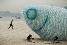 Giant fish sculpture made of plastic bottles in Rio de Janeiro