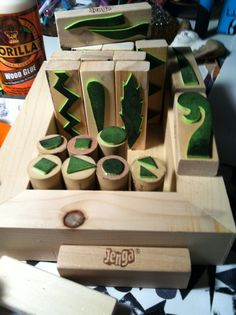 NEW! Foam Stamp Project: You need foam craft sheets, Jenga blocks, wine corks and wood glue. I completed this entire set of stamps in 1 1/2 hours. I used the back of a wooden canvas for storage of stamps. Great Project!