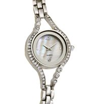 "Embellished Case Watch with Genuine Mother-of-Pearl Dial - Rhinestone accents. Silvertone bracelet, 7"" L with 1"" extender link. Regularly $29.99, buy Avon Jewelry online at http://eseagren.avonrepresentative.com"