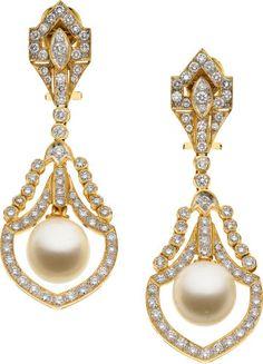 South Sea Cultured Pearl, Diamond, Gold Earrings.