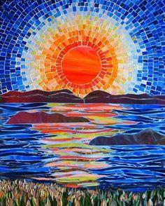Leena Nio Mosaic Crafts, Mosaic Projects, Art Projects, Mosaic Wall, Mosaic Glass, Mosaic Tiles, Paper Mosaic, Mosaic Artwork, Mosaic Mirrors