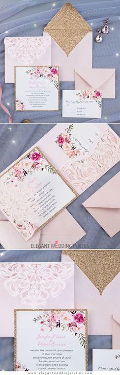 Romantic Blush Pink Floral Glittery Laser Cut Pocket Wedding Invitations EWWS201